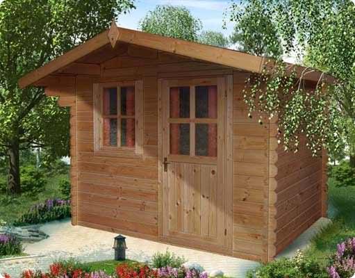 Bologna garden house in legno blockhaus col tetto spiovente